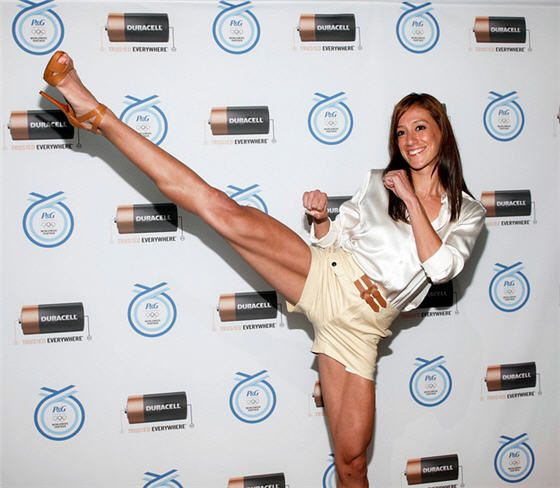 Olympic TaeKwonDo competitor Diana Lopez reveals powerful kick at Duracell Olympic event, photo by Stuart Ramson/Insider Images for Duracell