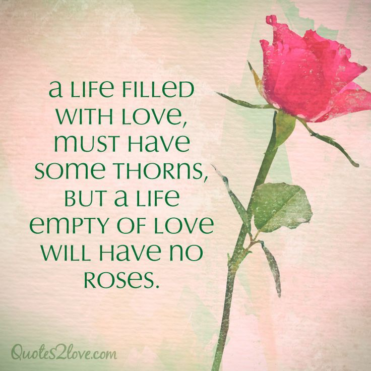 Some Good Quotes On Life: A Life Filled With Love, Must Have Some Thorns, But A Life