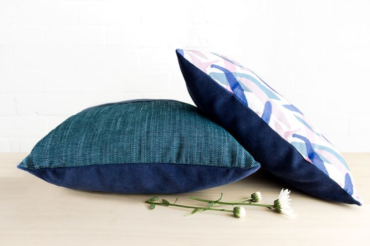 Sunday print cushion lazing around... Both have lovely cotton velvet undersides!