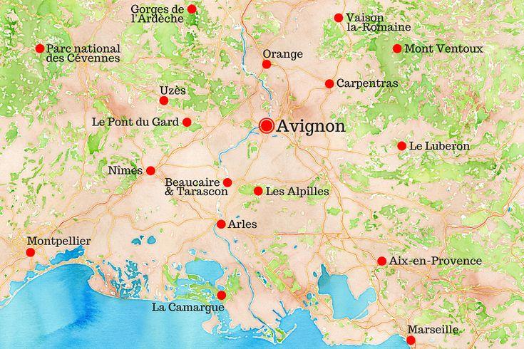 C'est juste incroyable ce qu'il y a à voir et à faire à 100 kilomètres à peine autour d'#Avignon... #Arles #Camargue #Orange #Vaucluse #Provence #Nîmes #Languedoc #Occitanie #Cévennes #Ardèche #AixEnProvence #Luberon #Voyage #Carte #RoadTrip #Travel #France #Map