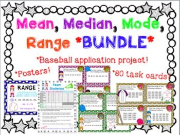 Your class will will LOVE this baseball themed mean, median, mode, and range unit! POSTERS, 80 TASK CARDS, and a final PROJECT!! So much fun and so much learning in just one pack! This is a HUGE bundle of the following:-posters explaining how to find mean, median, mode and range-28 mean task cards (plus challenge extensions)-28 median task cards (plus challenge extensions)-12 mode task cards-12 range task cards-16 page application baseball project EVERYTHING INCLUDES ANSWER KEYS!