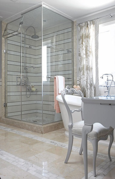 Cream, white and gray bathroom, designed by Sarah Richardson. Love the color scheme, and the stripe she created with tile.