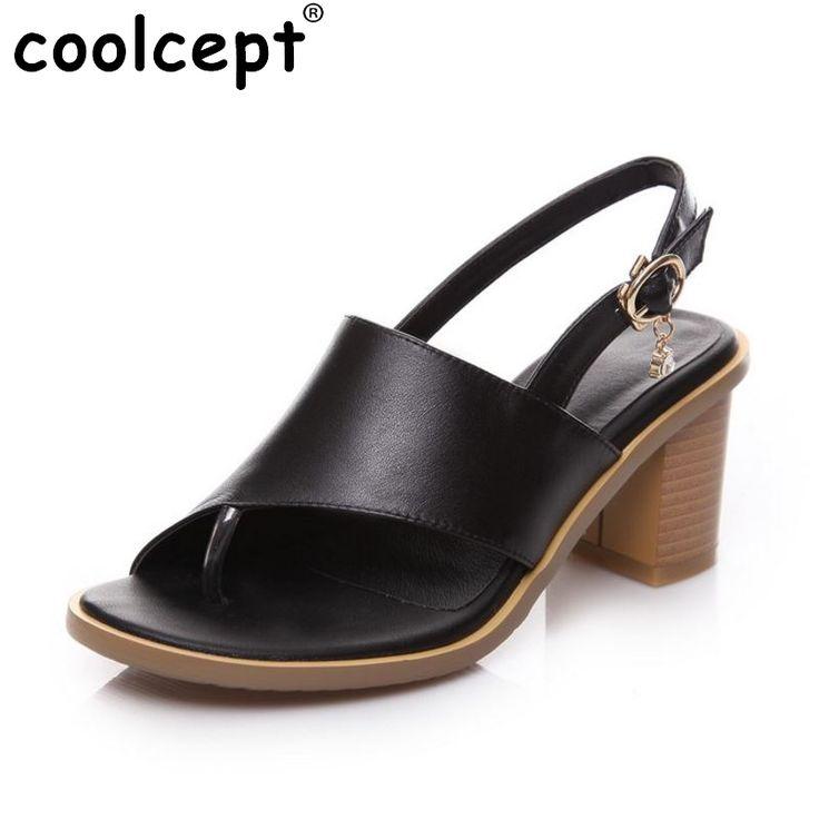 women real genuine leather slingbacks peep toe square high heel sandals sexy fashion brand heeled ladies shoes size 33-40 R6301