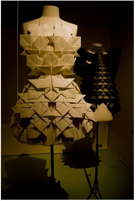 Paper Couture - 3D origami dress with geometric structure and textured folds - wearable art; alternative materials