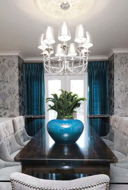 Teal and silver dining room for Dining room ideas teal