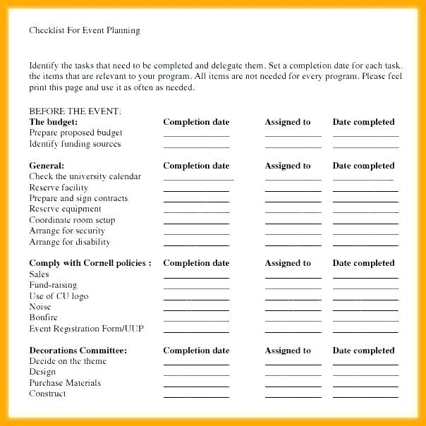 Fundraising Event Planning Checklist Template Special And El