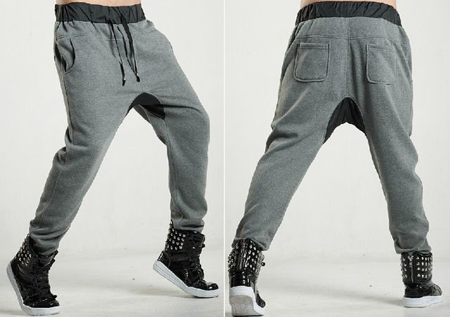 Winter Men's Trousers Fashion Drop Crotch Skinny Pants Mens Hip Hop Dance Costume Harem Sweatpants Men Joggers Sports Pants