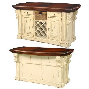 The capacious Country French Kitchen Island with Corbels is an excellent storing unit for the kitchen. This traditional Country French storage unit is intently