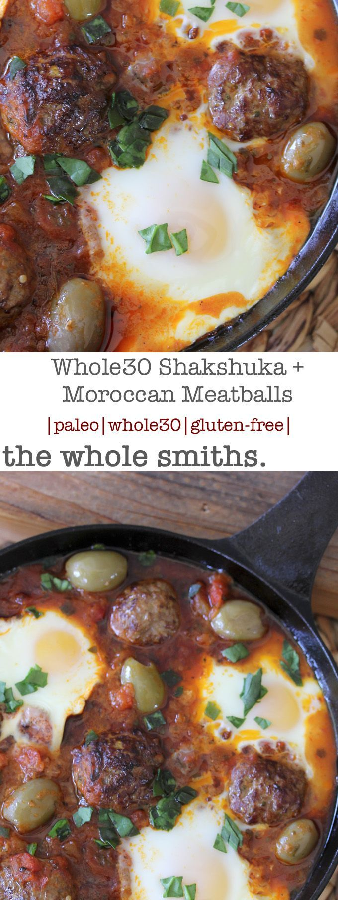 SO freaking good!! Whole30 compliant Shakshuka + Moroccan Spiced Meatballs from the Whole Smiths. An easy-to-make paleo and gluten-free recipe that can be easily added into your weekly meal plans on a regular basis. SO easy!!