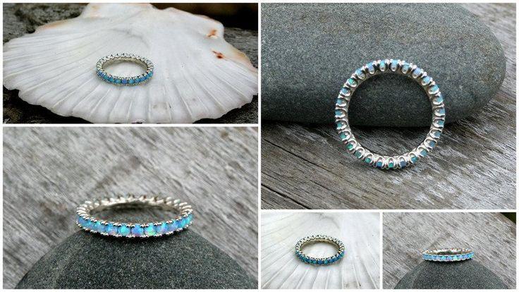 Blue Opal sterling silver Eternity ring