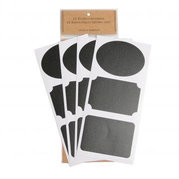 Stickers, krijtbord, etiketten, 12 stuks