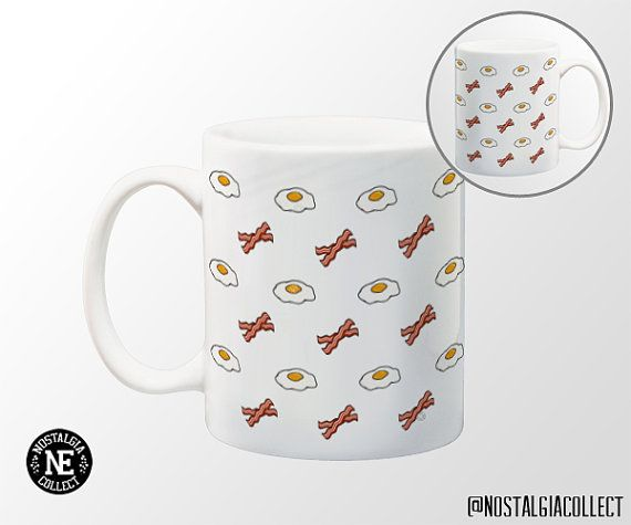 Bacon and Eggs Patterned Coffee Mug  11 oz by NostalgiaCollect