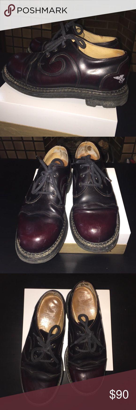 John Fluevog Angel Swirl Oxblood Oxfords Lightly worn John Fluevog Angel 7th Heaven Swirl 3-hole oxfords. Deep oxblood color. White Fluevog insignia on heel. Men's 8, equivalent to a women's 10.5 or 11. John Fluevog Shoes Oxfords & Derbys