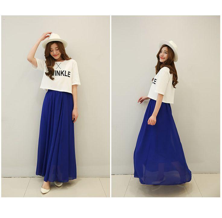 Корейская версия длинной части весны и летом юбка колледж Ветер талии шифон платье случайных черных студенты в слове юбки - глобальная станция Taobao