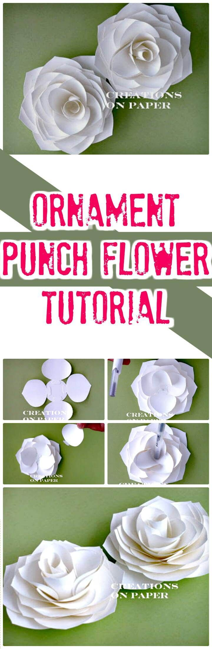 Easy Ornament Punch Flower Tutorial - 30 DIY Paper Flowers (Step by Step Tutorials / Template) - Page 4 of 6 - DIY & Crafts