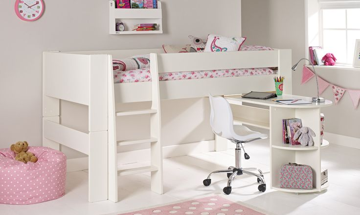 Solitaire White Midsleeper With Pull Out Desk Kid For