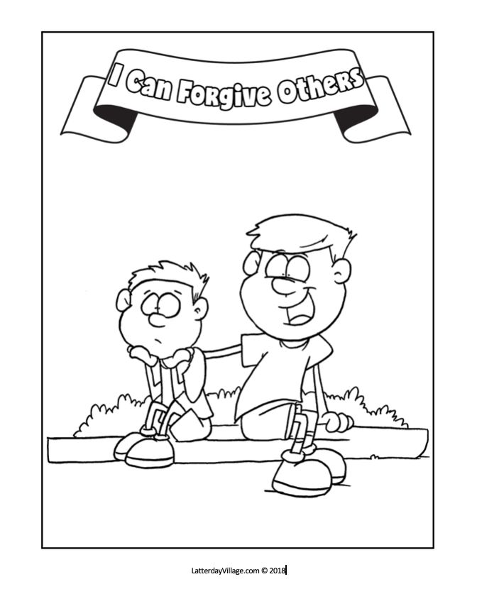 Primary Lesson 40: I Can Forgive Others. Coloring Page