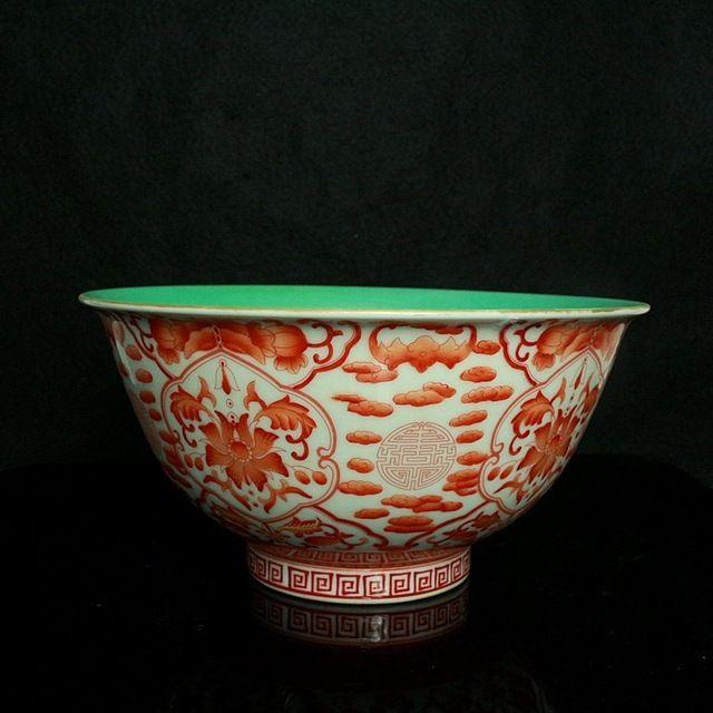 Китайские антикварные фарфоровые Ванадия красный Порошок Золотая чаша старинные украшения дома подарки ремесла посуда коллекция