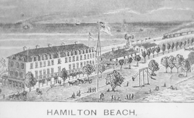 A copy of a lithograph of the beach development at the turn of the century. The Ocean House Hotel is pictured