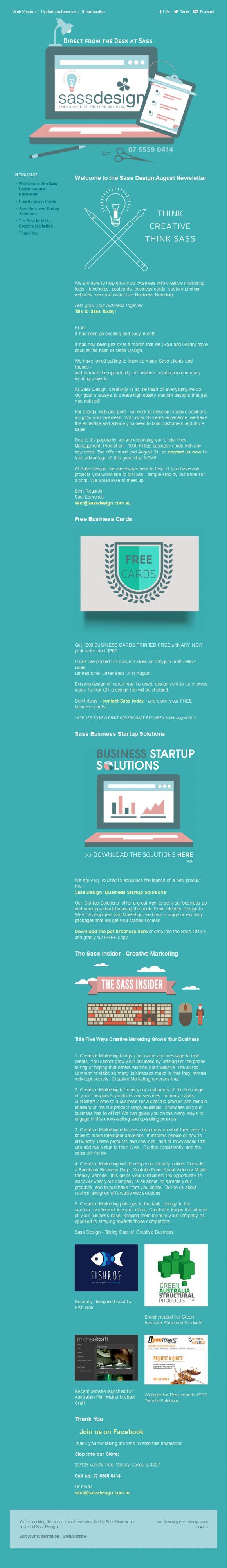 Sass design newsletter html email marketing design