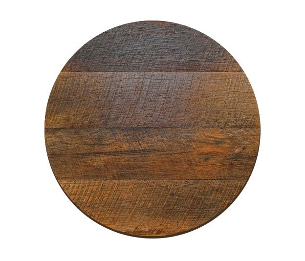 """Crafted from reclaimed oak barn wood, this 2"""" thick rustic table"""