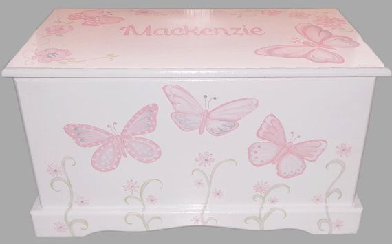 Custom Designed Butterfly Toy Chest with Monogram or Name, kids furniture, art and decor, wooden toy box on Etsy, $279.00