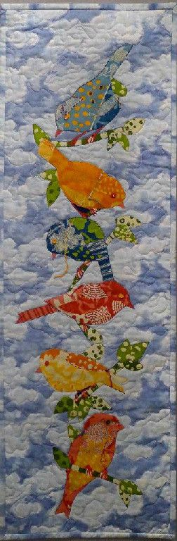 """Vivian Helena Gallery - Birds of Many Colors - 11.5"""" W x 13.5"""" L Commercial fabrics, machine and hand quilting, beads, buttons and embroidery threads."""