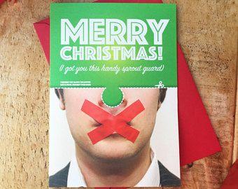 Funny Christmas Card / Christmas Face Card / Christmas Card /Funny Xmas Card / funny Christmas / sprout card