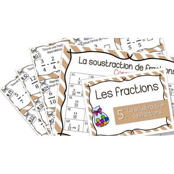 La soustraction de fractions - Cartes à tâches !