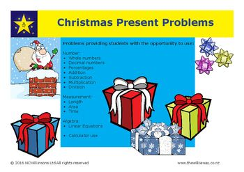 A Wilkie Way set of problems on the theme of Christmas presents.These problems will stimulate mathematical thinking and provide the opportunity to discuss possible solution methods and make sense of mathematical concepts in a meaningful context. Possible solution methods are provided along with all the answers.
