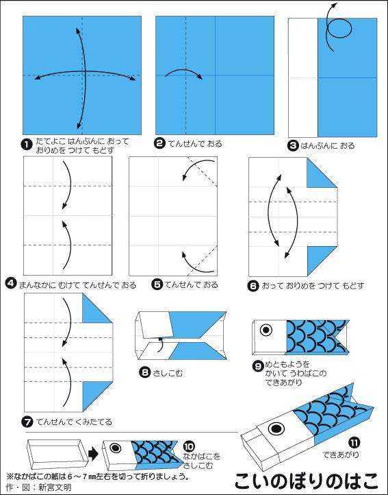 折り紙・こいのぼりのはこ