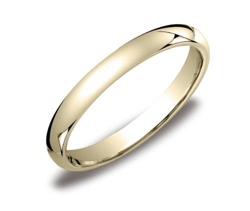 Womens 14k Yellow Gold 3mm Comfort Fit Wedding Band Ring S