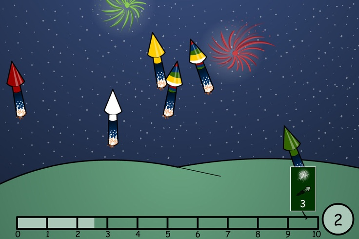 Design, sequence and enjoy a fabulous firework display. Click on each rocket to set their colour, bang, speed, time and angle. Count down and watch your rockets explode across the sky.