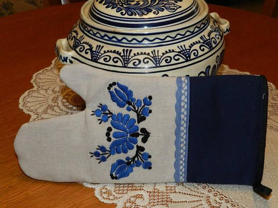 Set of 2 Kalocsa embroidered oven mitts Hand embroidery grill