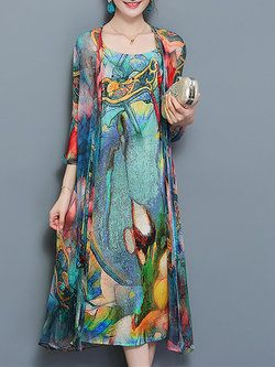 Women Multicolor Plus Size Elegant Boho Chiffon Floral Printed Two Piece Dress