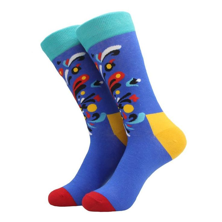 Multi-color socks with abstract motif