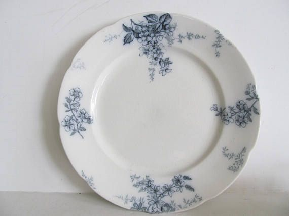 Flow Blue Plate Blossom Pattern Alfred Meakin England Flow