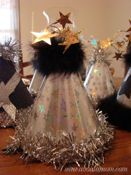 DIY New Year's Party Hats --- would be cool for Nat's party. An activity for them to do :)