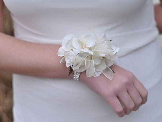 Wrist Corsage, Ivory Hydrangea with Ivory Roses, Rhinestone Bracelet, Wedding Corsage, Prom Corsage, Silk Flower Corsage.