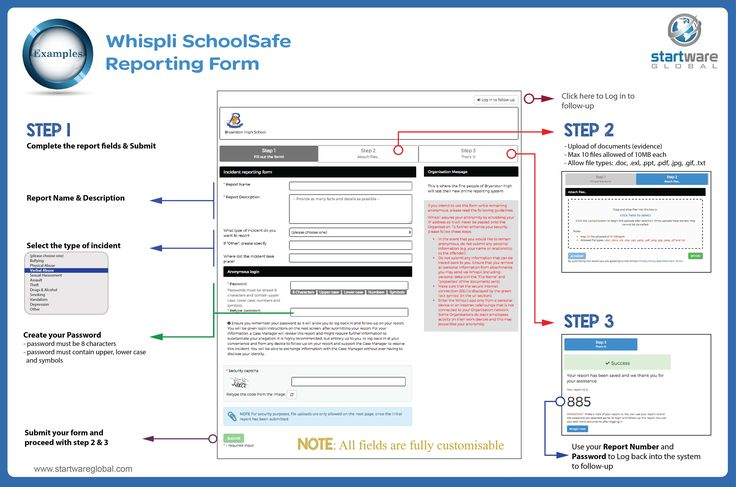 Whispli - SchoolSafe Example of a Reporting Form