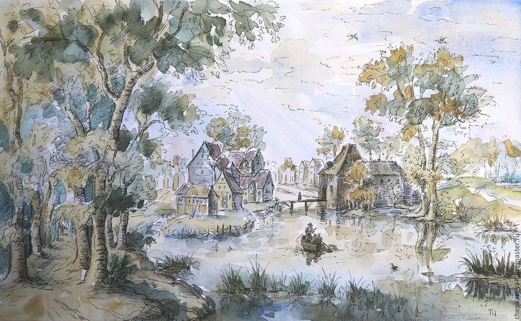 Купить Вид селения на канале. Акварель, гелевая ручка - голландский, рисунок, акварель, гелевая ручка