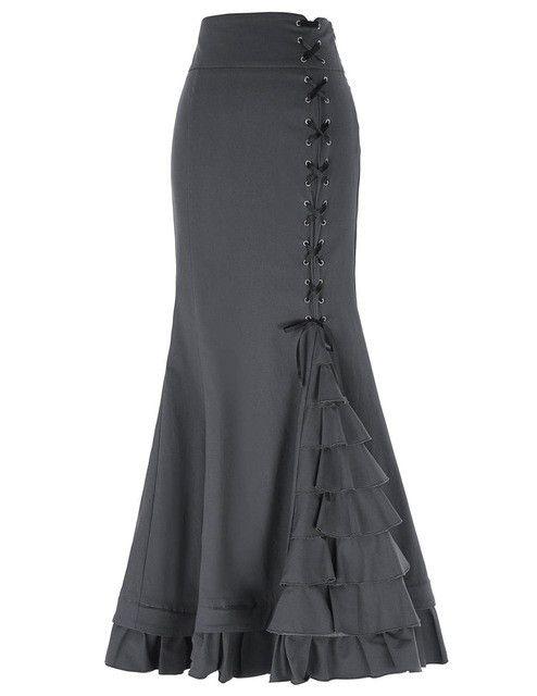 Belle Poque Women Vintage Retro Victorian Style High Stretchy Ruffled Fishtail Mermaid Long Skirt Women Sexy Skirts Faldas Skirt