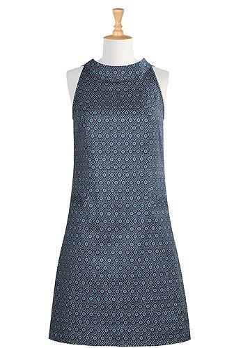 I <3 this Floral tile print stretch cotton shift dress from eShakti