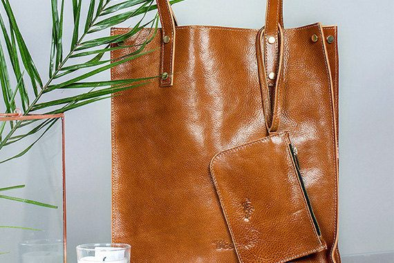 Tote handbags Handmade in Tanned LeatherSimple by meandbags