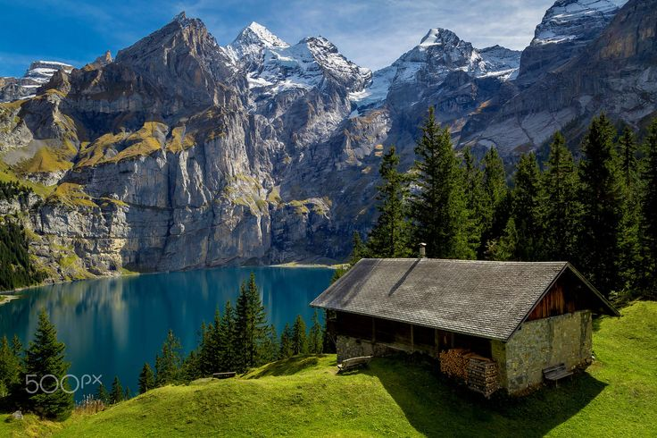 Nice clear day at Oeschinensee, Switzerland