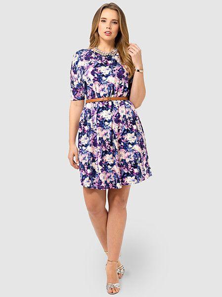 ASOS CURVE T-Shirt Dress In Painterly Floral Print #plussize