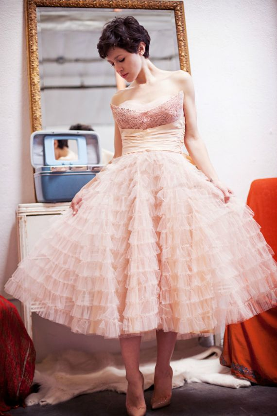 Beautiful tulle 1950's style pink dress