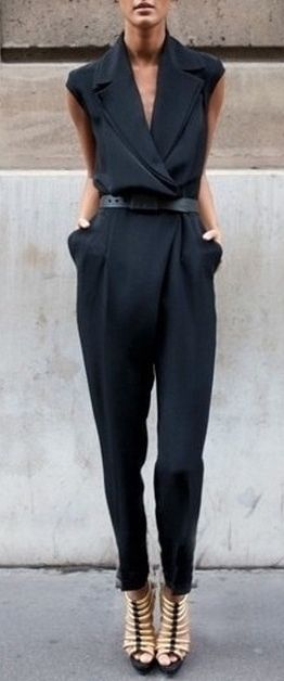 Tuxedo black jumpsuit. Elegant street women fashion outfit clothing style apparel @roressclothes closet ideas