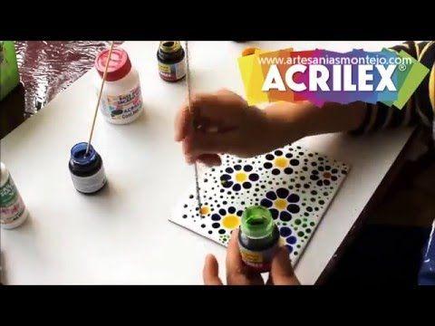 Falso Mosaico de #Acrilex con las pinturas vitrales y la base para jacarelado. Disponible en www.artesaniasmontejo.com