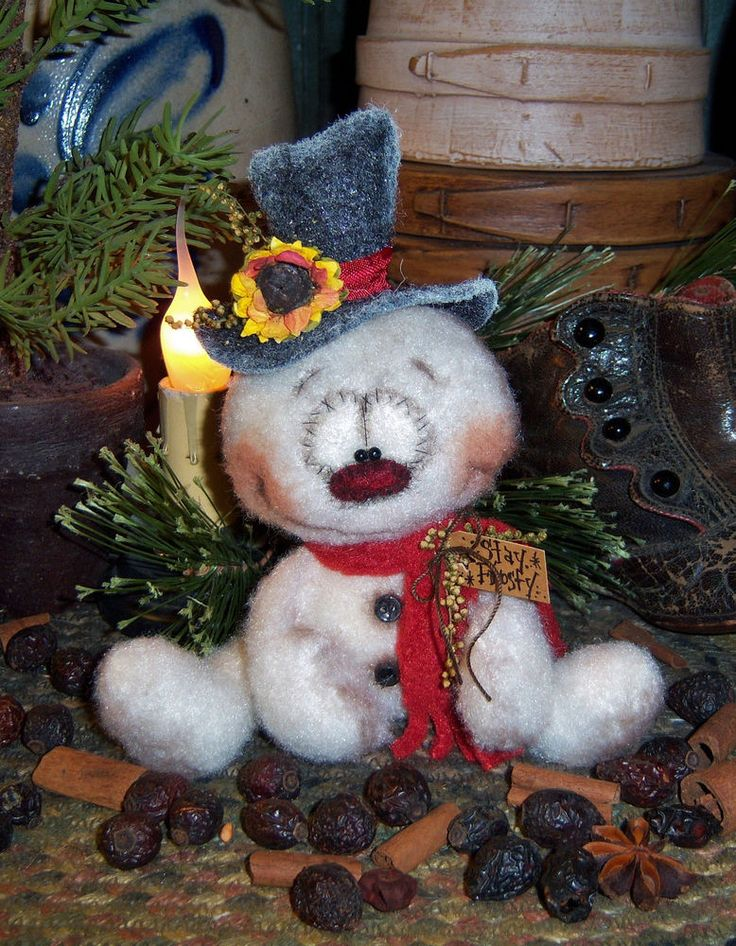 Patti's Ratties Primitive Raggedy Snowman Frosty Doll Pattern #625 in Dolls & Bears, Dolls, Doll Making & Repair   eBay